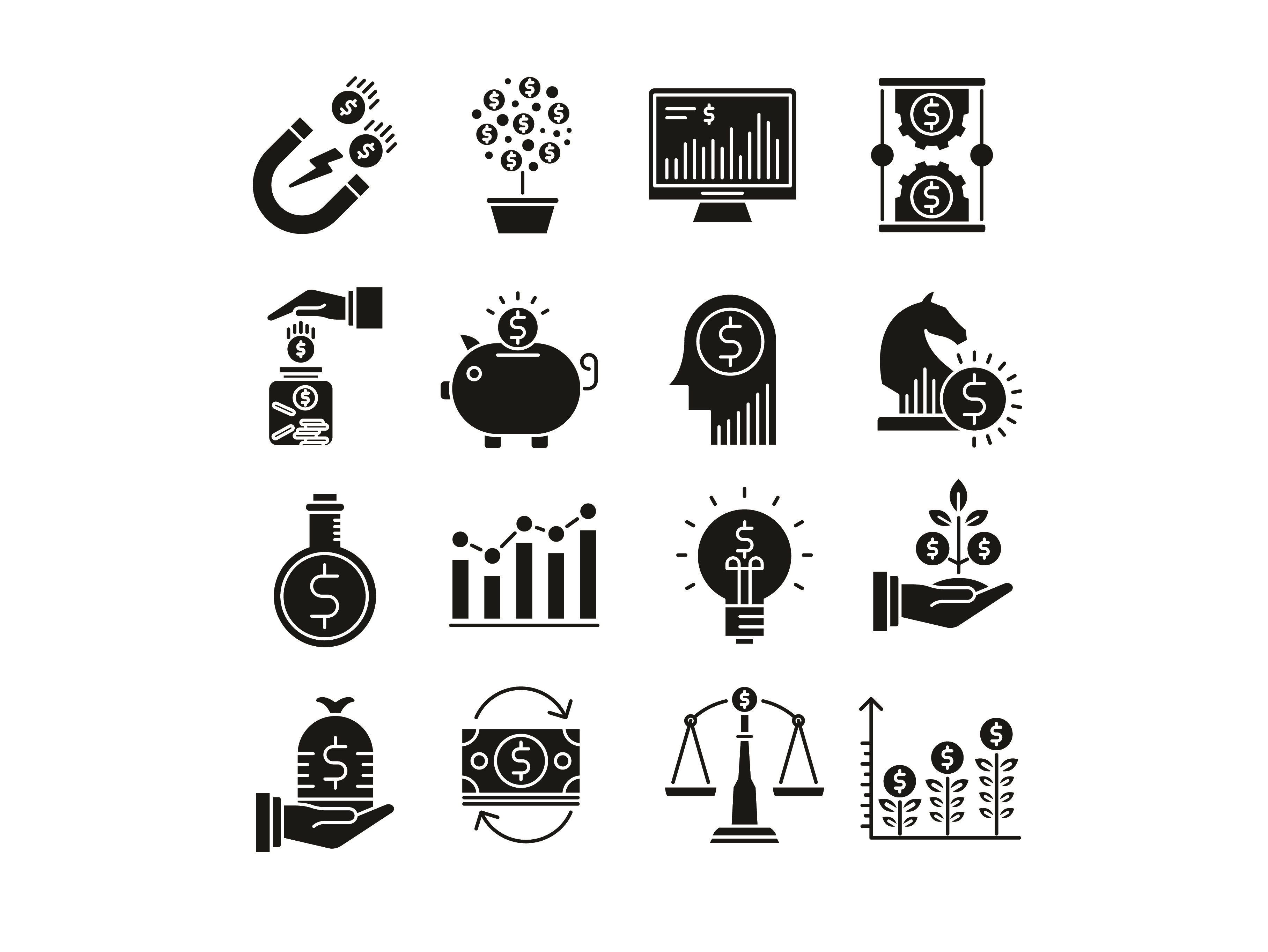 Download Free Investments Icons Set Graphic By Back1design1 Creative Fabrica for Cricut Explore, Silhouette and other cutting machines.