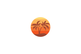Download Free Island Icon With Palm Tree Graphic By Sabavector Creative Fabrica for Cricut Explore, Silhouette and other cutting machines.