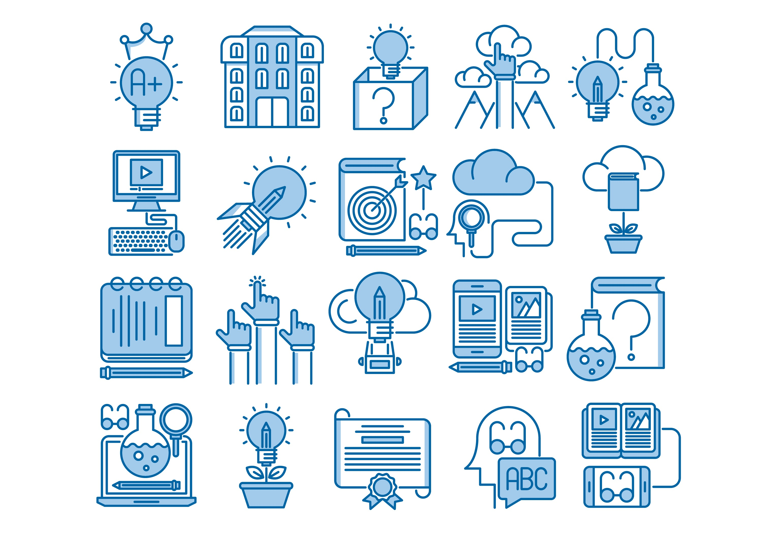 Download Free Knowledge And Education Icons Set Graphic By Back1design1 for Cricut Explore, Silhouette and other cutting machines.