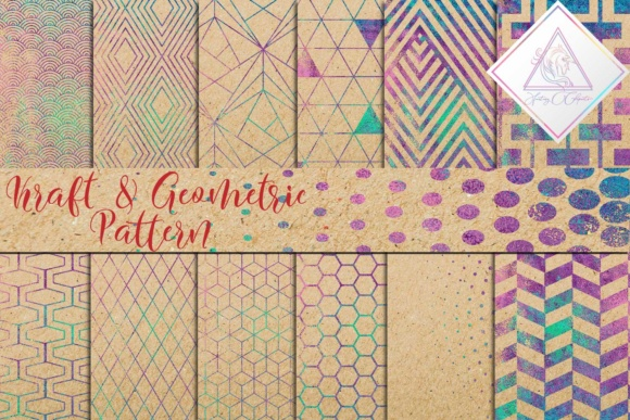 Print on Demand: Kraft Digital Paper & Geometric Pattern Grafik Texturen von fantasycliparts