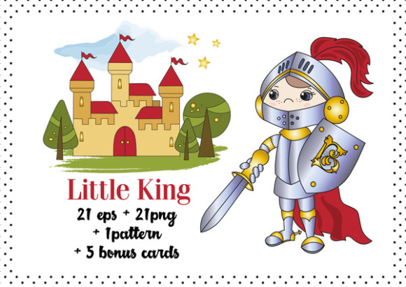 Print on Demand: Little King Color Vector Illustration Set Graphic Illustrations By FARAWAYKINGDOM