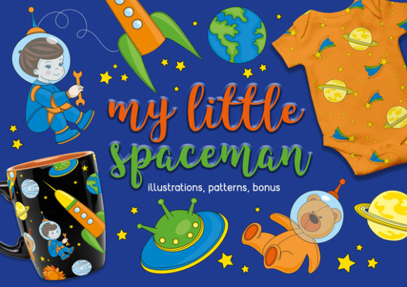 LITTLE SPACEMAN Vector Illustration Seamless Pattern Set Graphic Illustrations By FARAWAYKINGDOM