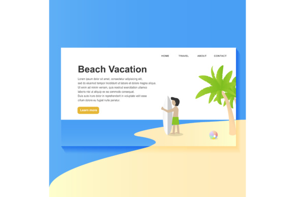 Print on Demand: Landing Page Beach Design Graphic Websites By sabavector