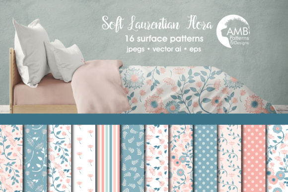 Laurentian Florals Papers Graphic Patterns By AMBillustrations