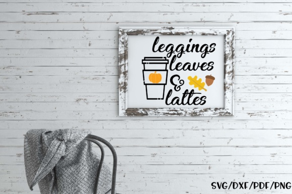 Leggings Leaves & Lattes Graphic By Sheryl Holst Image 2