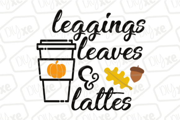 Leggings Leaves & Lattes Graphic By Sheryl Holst Image 1