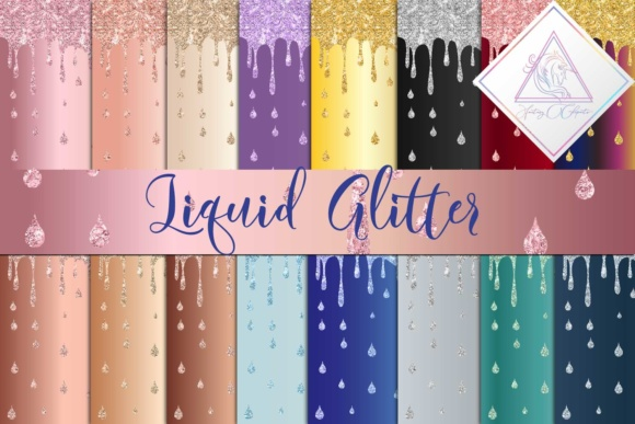 Print on Demand: Liquid Glitter Digital Paper Graphic Textures By fantasycliparts