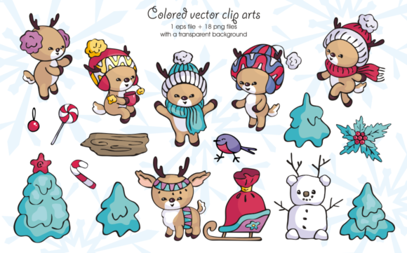 Print on Demand: Little Fawns. Christmas Doodles and Seamless Patterns Graphic Illustrations By Olga Belova - Image 2