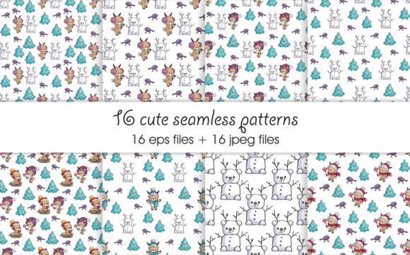 Print on Demand: Little Fawns. Christmas Doodles and Seamless Patterns Graphic Illustrations By Olga Belova - Image 4