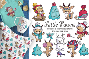 Little Fawns. Christmas Doodles and Seamless Patterns Graphic By Olga Belova