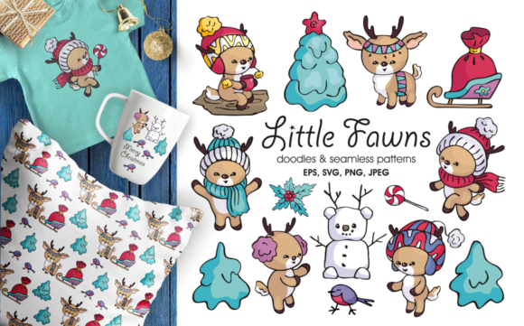 Print on Demand: Little Fawns. Christmas Doodles and Seamless Patterns Graphic Illustrations By Olga Belova