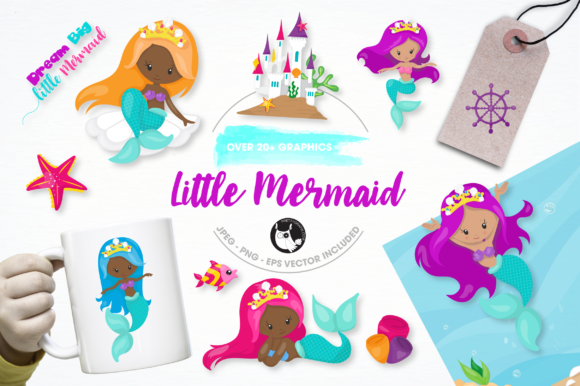 Download Free Little Mermaid Graphics And Illustrations Graphic By for Cricut Explore, Silhouette and other cutting machines.