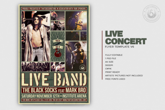 Download Free Live Concert Flyer Template V6 Graphic By Thatsdesignstore SVG Cut Files
