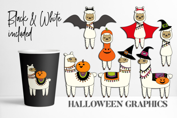 Print on Demand: Llama Halloween Graphic Illustrations By DarraKadisha