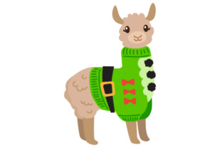 Llama with Ugly Christmas Sweater Christmas Craft Cut File By Creative Fabrica Crafts