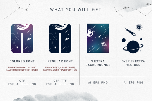 Print on Demand: Lost in Space Color Fonts Font By Cosmic Store - Image 11