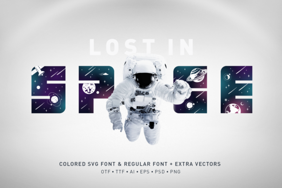 Print on Demand: Lost in Space Color Fonts Font By Cosmic Store
