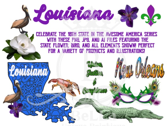 Louisiana- Awesome America Series Graphic Objects By BellaUniquePrintique