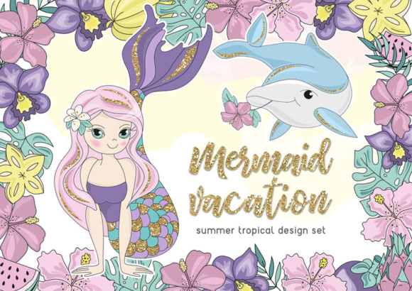 Print on Demand: MERMAID VACATION Glitter Vector Illustration Set Graphic Illustrations By FARAWAYKINGDOM