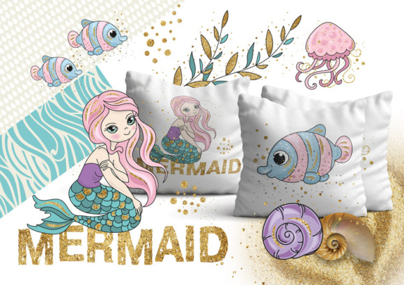 Print on Demand: Mermaids Sea Tropical Color Vector Illustration Set Graphic Illustrations By FARAWAYKINGDOM - Image 3