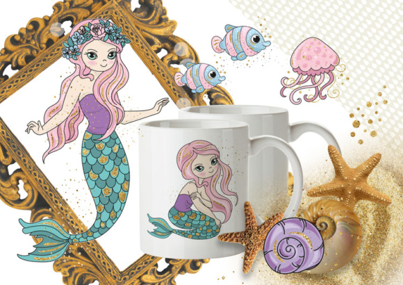 Print on Demand: Mermaids Sea Tropical Color Vector Illustration Set Graphic Illustrations By FARAWAYKINGDOM - Image 4