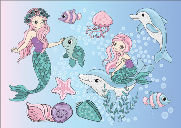 Print on Demand: Mermaids Sea Tropical Color Vector Illustration Set Graphic Illustrations By FARAWAYKINGDOM - Image 5