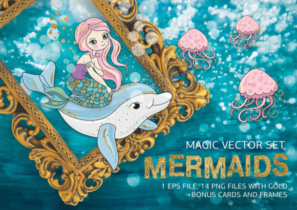 MERMAIDS Sea Tropical Color Vector Illustration Set Graphic Illustrations By FARAWAYKINGDOM