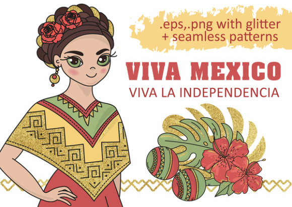 MEXICO Golden Color Vector Illustration Set Graphic Illustrations By FARAWAYKINGDOM - Image 1