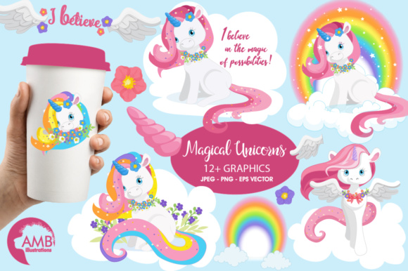 Download Free Magical Unicorn Clipart Graphic By Ambillustrations Creative for Cricut Explore, Silhouette and other cutting machines.