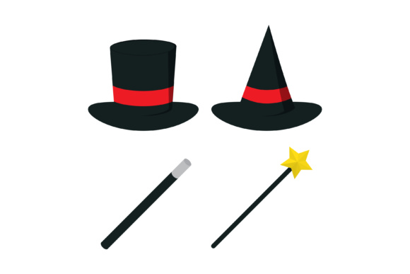Print on Demand: Magician Hat and Wand Graphic Illustrations By sabavector