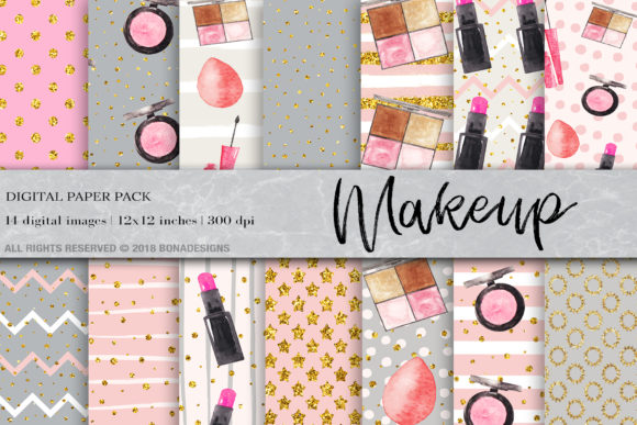 Makeup Fashion Digital Paper, Fashion Digital Paper Grafik Muster von BonaDesigns