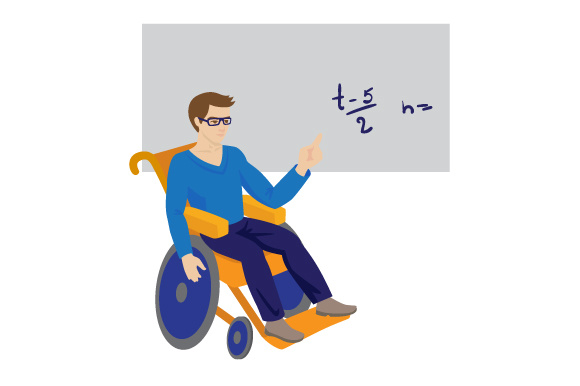 Download Free Man In A Wheelchair Working As A Teacher Svg Cut File By for Cricut Explore, Silhouette and other cutting machines.