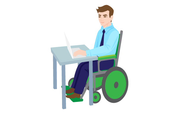 Download Free Man In A Wheelchair Working Behind A Desk Svg Cut File By for Cricut Explore, Silhouette and other cutting machines.