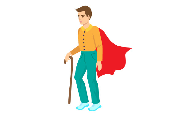 Download Free Man Using A Cane To Walk With A Superhero S Cape Svg Cut File By for Cricut Explore, Silhouette and other cutting machines.