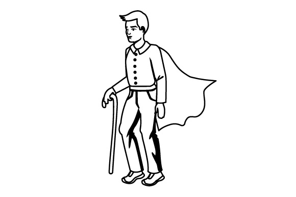 Download Free Man Using A Cane To Walk With A Superhero S Cape Svg Cut File By Creative Fabrica Crafts Creative Fabrica for Cricut Explore, Silhouette and other cutting machines.