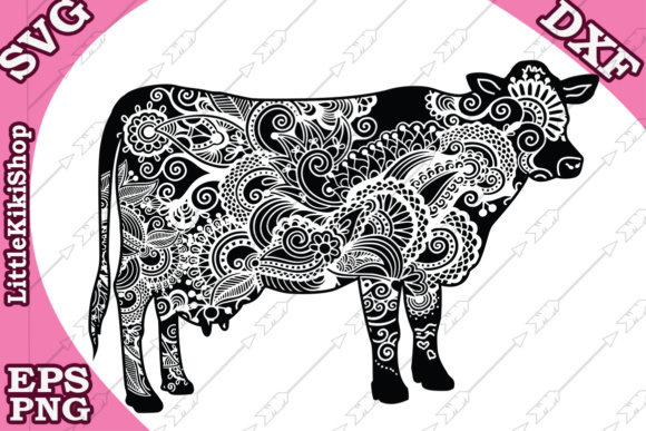 Download Free Mandala Cow Graphic By Littlekikishop Creative Fabrica for Cricut Explore, Silhouette and other cutting machines.