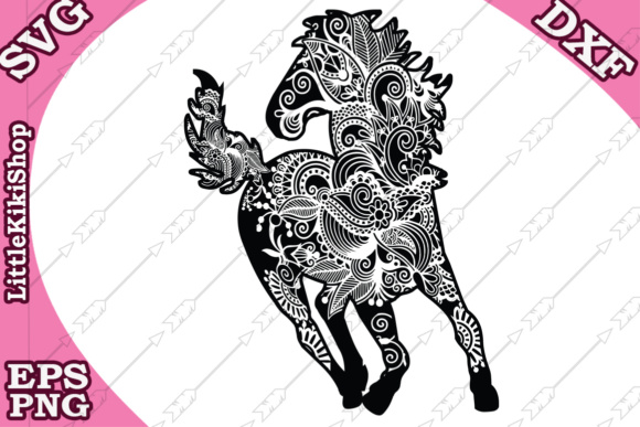 Download Free Mandala Horse Graphic By Littlekikishop Creative Fabrica for Cricut Explore, Silhouette and other cutting machines.