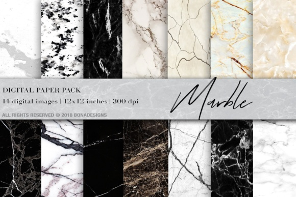 Marble Background Digital Paper Graphic Backgrounds By BonaDesigns