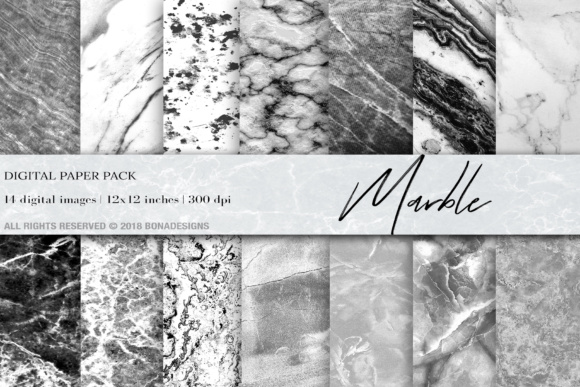 Marble Background Digital Paper Graphic Textures By BonaDesigns