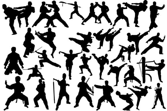 Download Free Martial Arts Silhouettes Grafik Von Twelvepapers Creative Fabrica for Cricut Explore, Silhouette and other cutting machines.