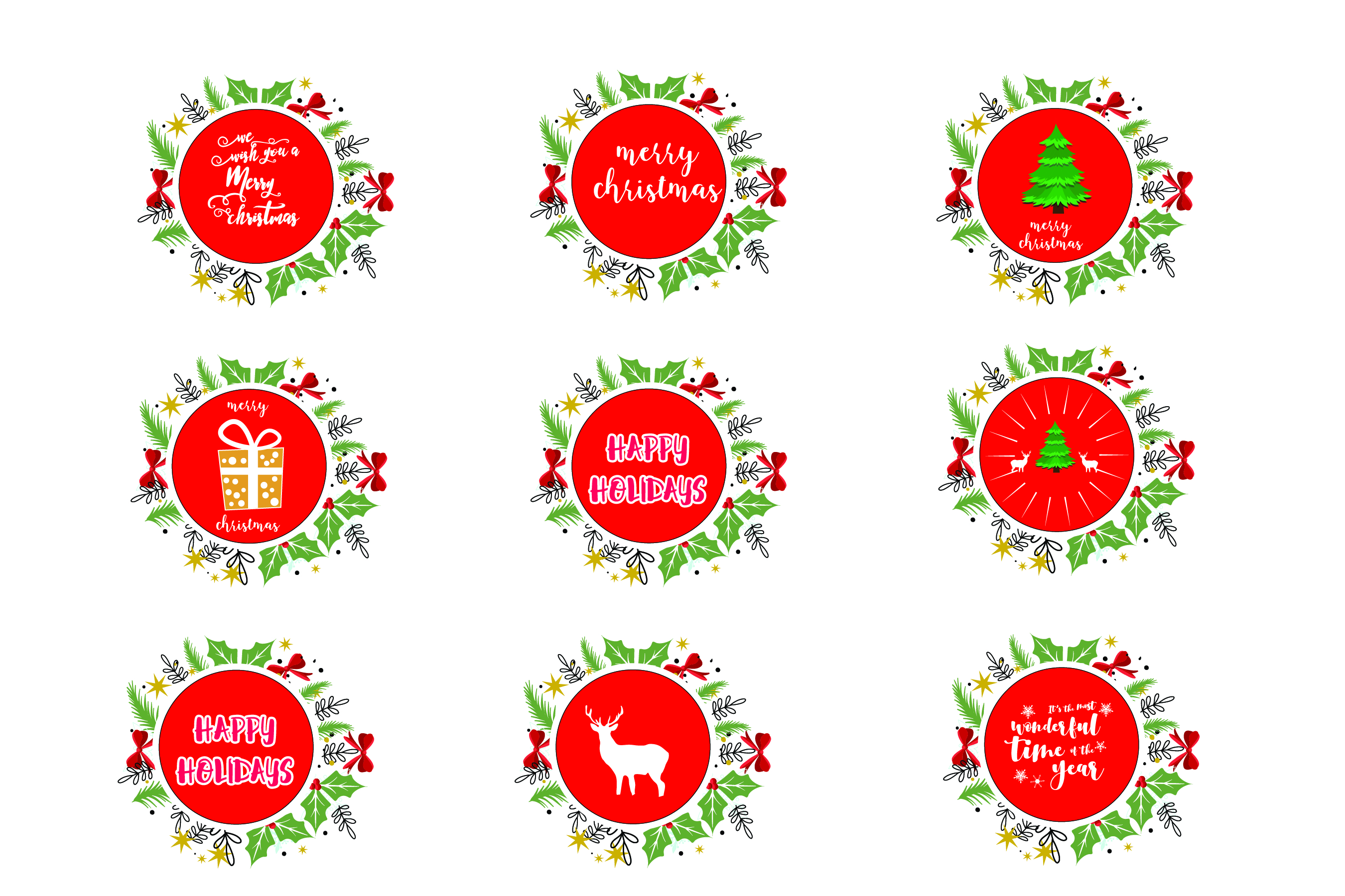 Download Free Merry Christmas Designs Bundle Graphic By Bluestar Creatives for Cricut Explore, Silhouette and other cutting machines.