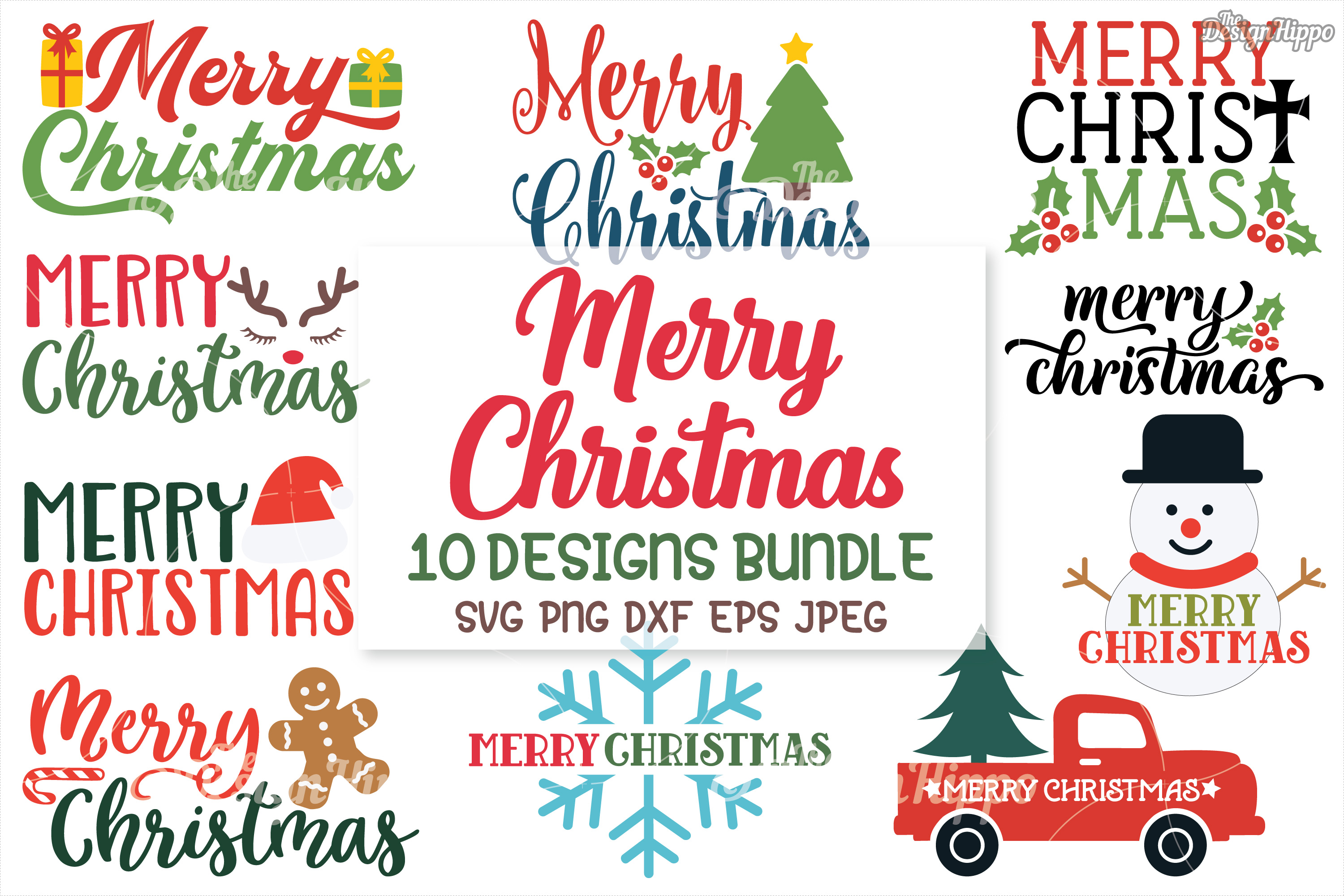 Download Free Merry Christmas Bundle Graphic By Thedesignhippo Creative Fabrica for Cricut Explore, Silhouette and other cutting machines.