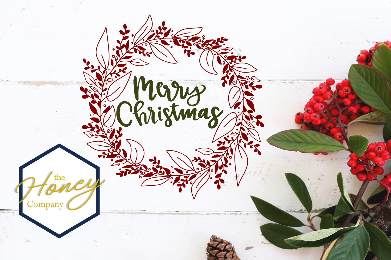 Merry Christmas Wreath Graphic by The Honey Company - Creative Fabrica