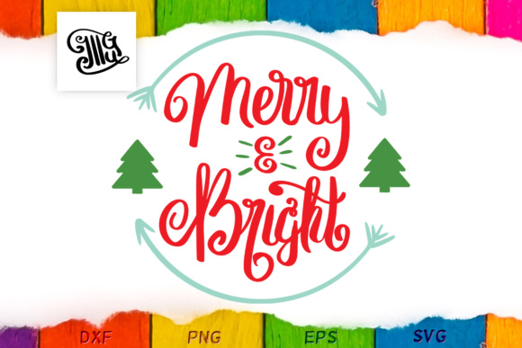 Merry and Bright - Christmas - Hand Lettered Gráfico Crafts Por Illustrator Guru