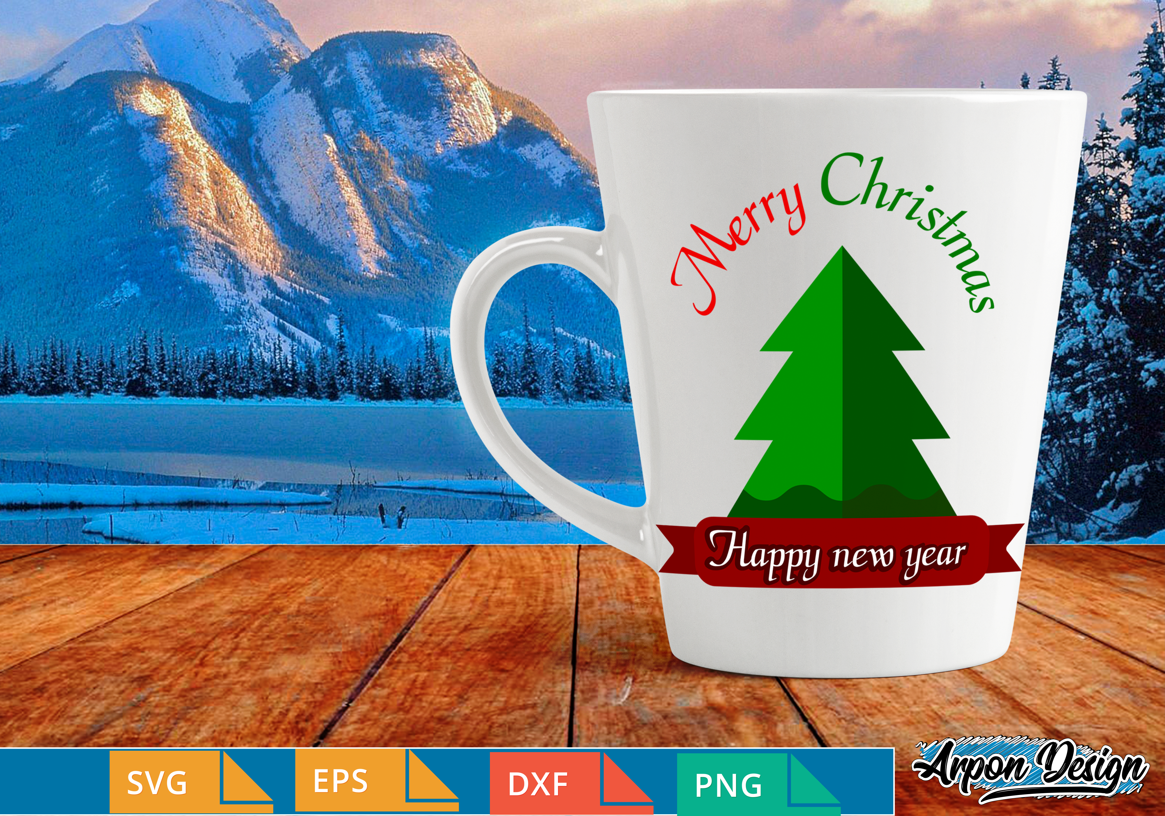 Download Free Merry Christmas A Happy New Year Graphic By Arpondesign for Cricut Explore, Silhouette and other cutting machines.