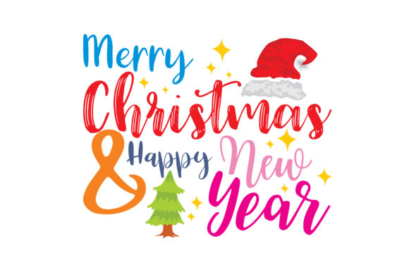 Download Free Meryy Christmas And Happy New Year Graphic By Thelucky for Cricut Explore, Silhouette and other cutting machines.
