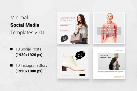 Print on Demand: Minimal Social Packs V. 01 Graphic Presentation Templates By onetype - Image 2