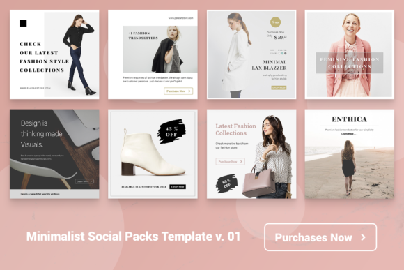 Print on Demand: Minimal Social Packs V. 01 Graphic Presentation Templates By onetype - Image 3