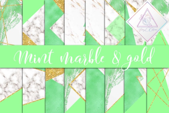 Print on Demand: Mint, Marble & Gold Glitter Digital Paper Graphic Textures By fantasycliparts