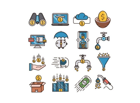 Print on Demand: Money Flow Icons Set Graphic Icons By back1design1